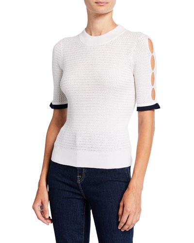 Short-Sleeve Alpaca Pointelle Sweater