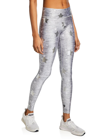 Stars Foil-Printed Heathered Balayage Leggings