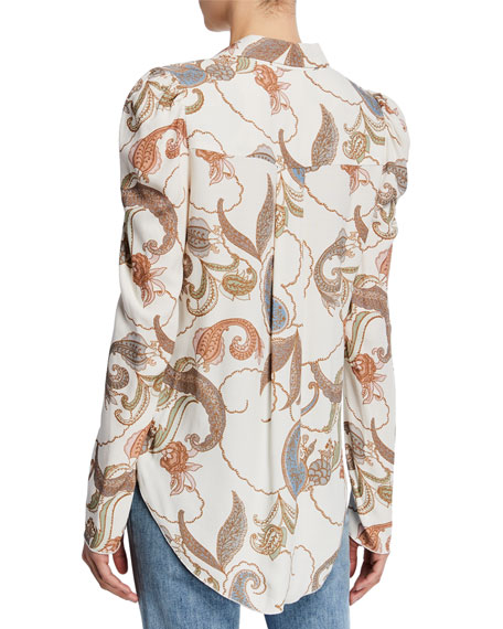 Paisley-Print Long-Sleeve Button-Up Blouse