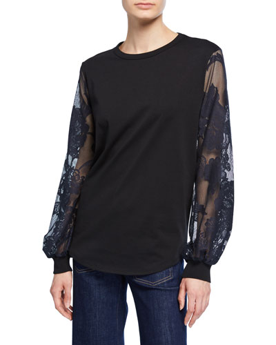 a0badce26dc Crewneck Embroidered Long-Sleeve Cotton Tee Quick Look. See by Chloe