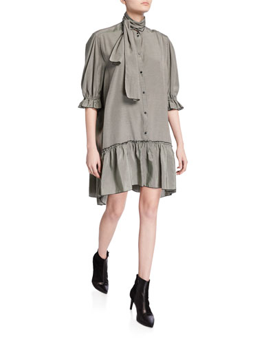 Ascot Tie Fluid Shirt Dress