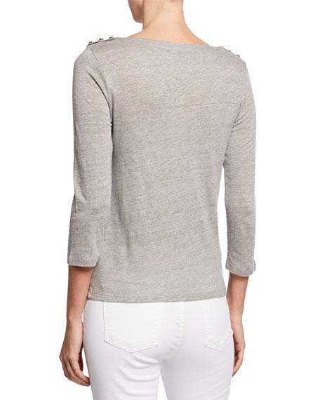 Boat-Neck 3/4-Sleeve Button-Shoulders Linen/Silk Top