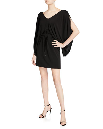 Draped-Sleeve Jersey Short Dress