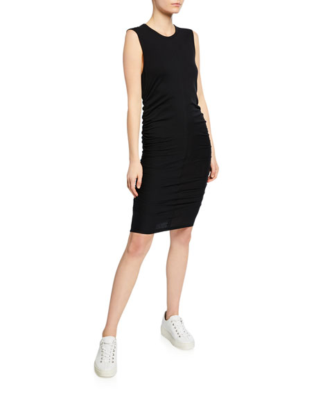 Sleeveless Stretch-Cotton Dress with Side-Ruching