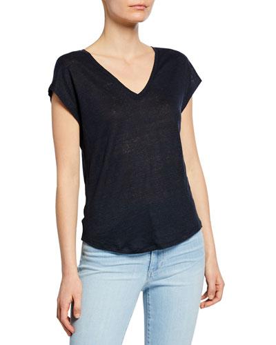 Short-Sleeve V-Neck Linen Tee with Mesh Detail