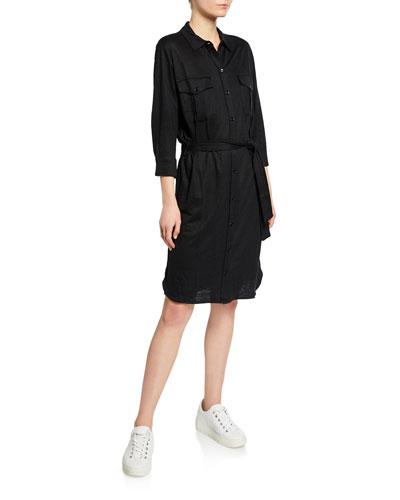 Button-Down Long-Sleeve Stretch-Linen Belted Shirtdress