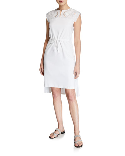 Sleeveless Tie-Waist High-Low Dress with Embroidery