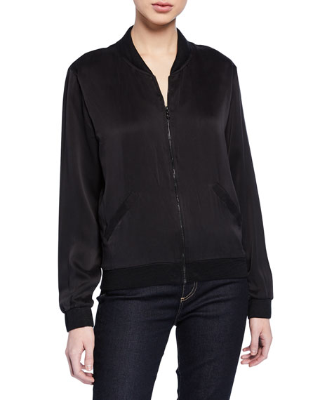 Silk Front Long-Sleeve Linen Bomber Jacket