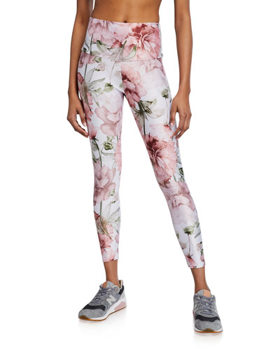 Floral High Basic Midi Leggings