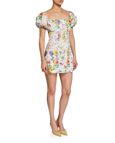 Lourdes Square-Neck Floral-Print Mini Dress