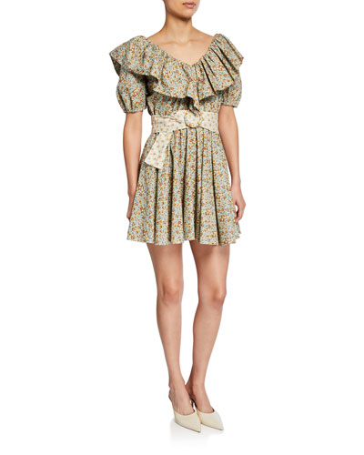 Luisa V-Neck Ruffle Short Dress
