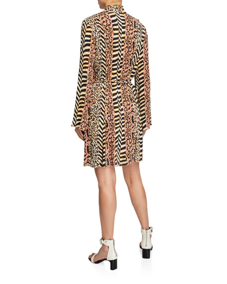 Yai Animal-Print High-Neck Dress
