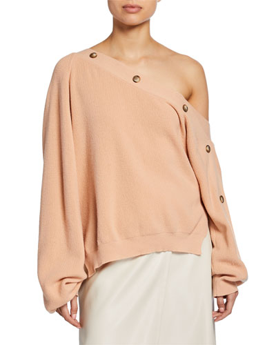 Camerin One-Shoulder Long-Sleeve Ribbed Top