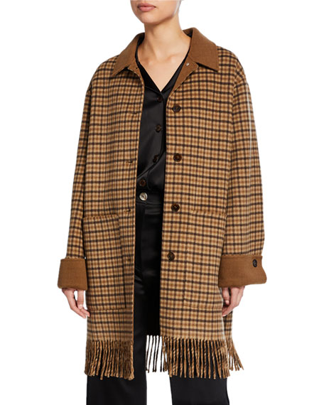 Marzy Check Cotton-Silk Coat with Fringe