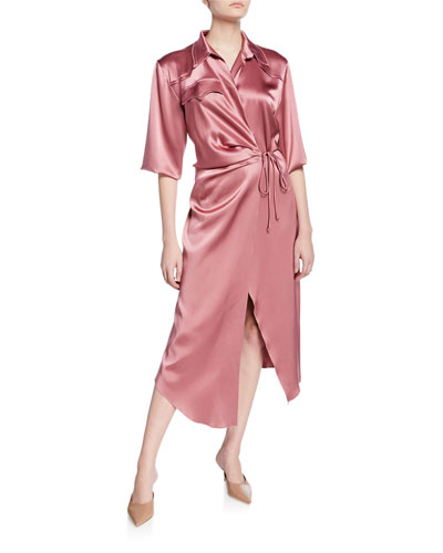 Lais Yoked Satin Wrap Dress