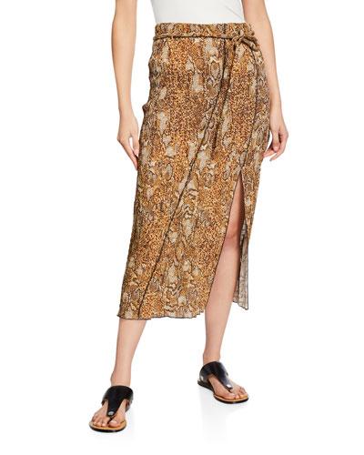 Indira Snake-Print Slit Midi Skirt