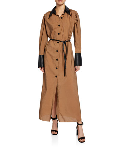 Yoon Long Shirt Dress with Vegan Leather Trim
