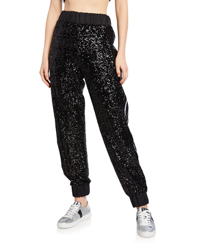 Midnight Sequined Joggers with Embroidery
