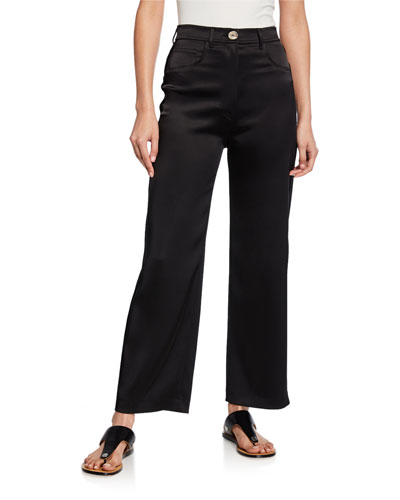 Marfa Wide-Leg Satin Pants
