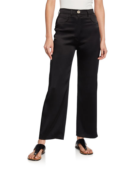 Marfa Wide-Leg Satin Pants