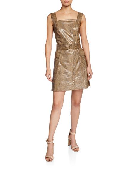 Lorena Vinyl Snake-Print Short Dress