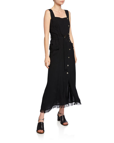Moun Button-Front Belted Long Dress