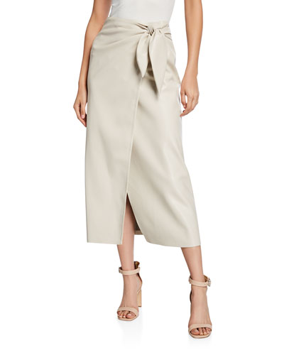 Amas Vegan Leather Tie-Front Midi Skirt