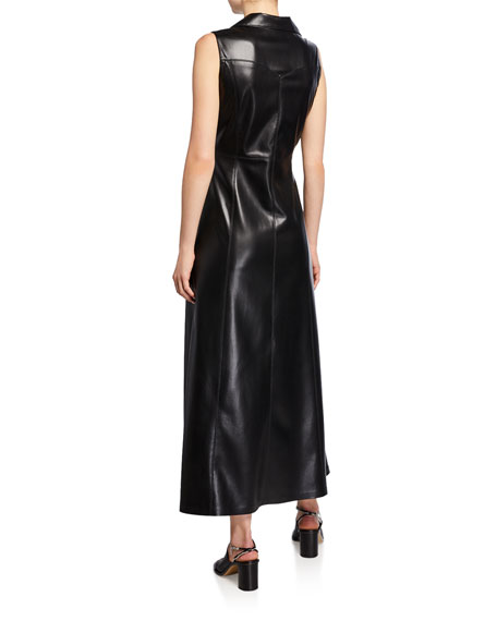 Sharma Sleeveless Vegan Leather Long Dress