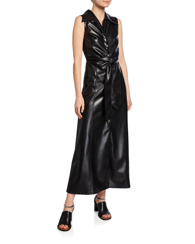 Sharma Sleeveless Vegan Leather Long Dress