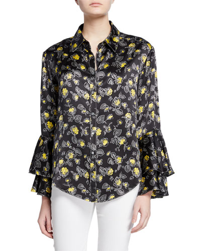 0002cd4e28 Promotion kirby floral-print silk ruffle-sleeve button-down top Quick Look.  cinq a sept