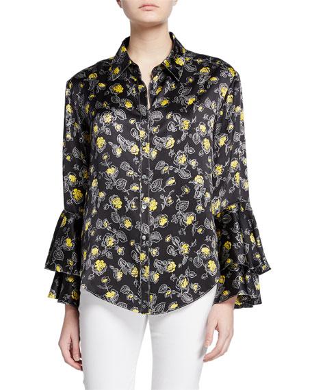 kirby floral-print silk ruffle-sleeve button-down top