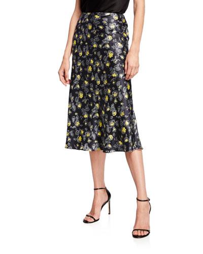 Marta Rosebud-Print Skirt