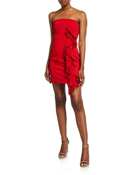 nat strapless mini tassel dress