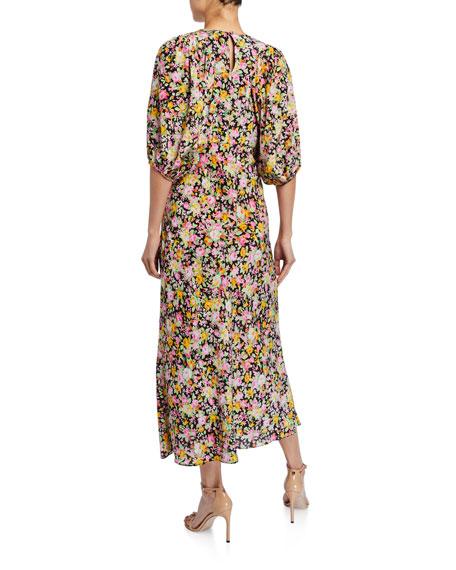 Puff-Sleeve Bias Midi Dress