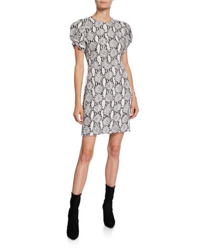 Brinley Dress Snake-Print Short-Sleeve Mini Dress