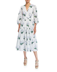 Puff Sleeve Cotton Floral Print Wrap Dress by Les Reveries