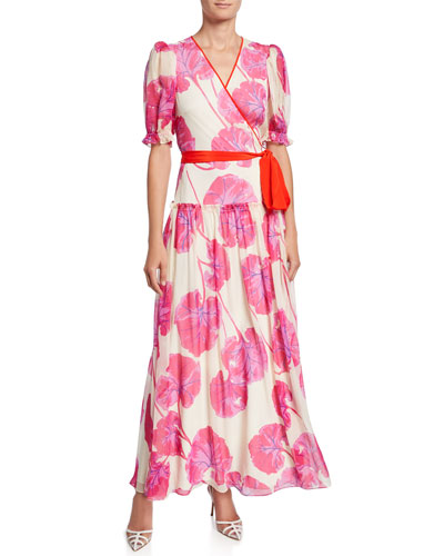 Breeze Floral-Print Silk Long Wrap Dress