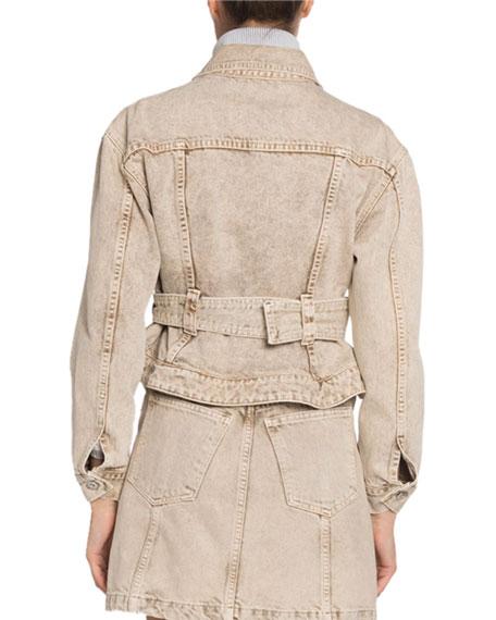 Belted Cropped Denim Jacket