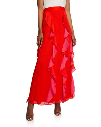 Salona Ruffle Maxi Wrap Skirt