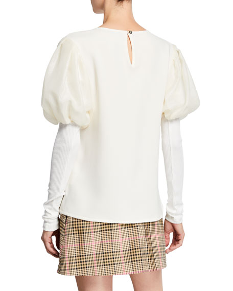 It's A New Day Puffed-Sleeve Gauze Trimmed Crepe Top