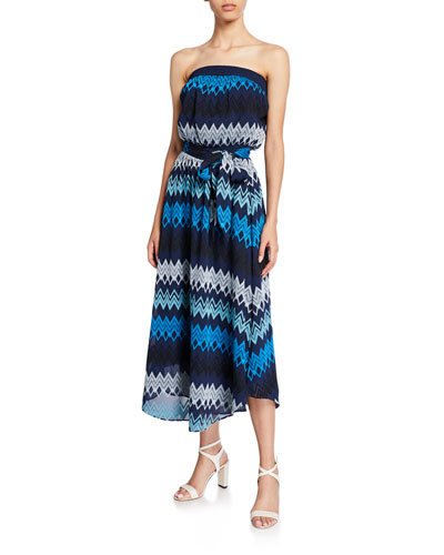 Sylvia Self-Tie Strapless Midi Dress