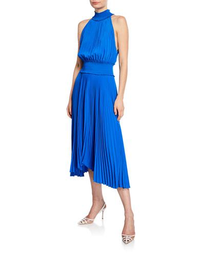 Renzo B Sleeveless Turtleneck Pleated Midi Dress