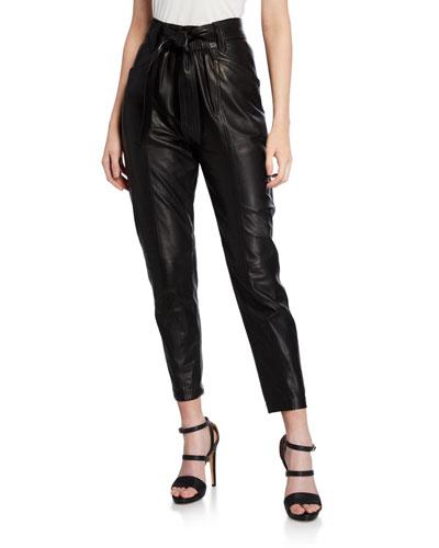 Davins High-Rise Leather Pants