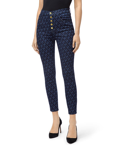 Lillie Printed High-Rise Crop Skinny Jeans w/ Button Fly