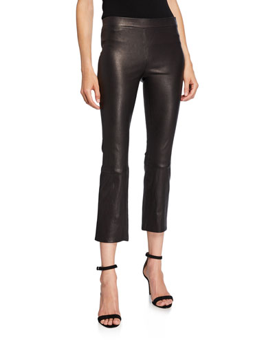 Mid-Rise Boot-Cut Cropped Pull-On Leather Pants