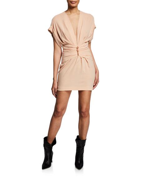 4bfd1720bf Gastona V-Neck Short-Sleeve Ruched Mini Dress