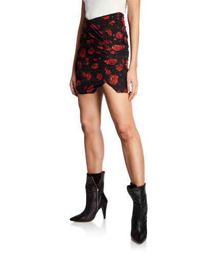 Bootab Floral Ruched Mini Skirt