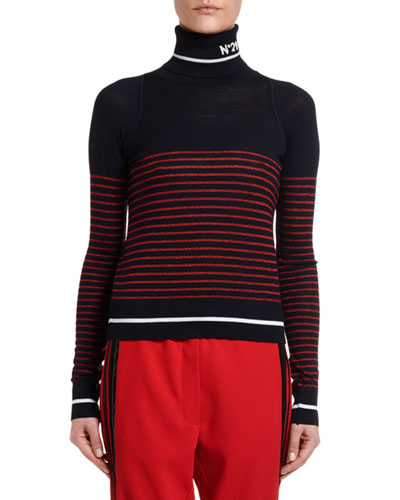 Striped Fitted Turtleneck Sweater