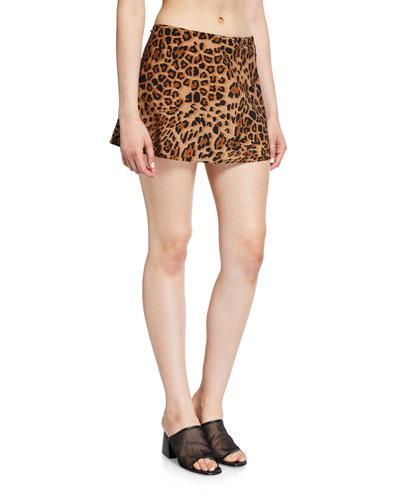 Ava Leopard-Print A-Line Swim Skirt