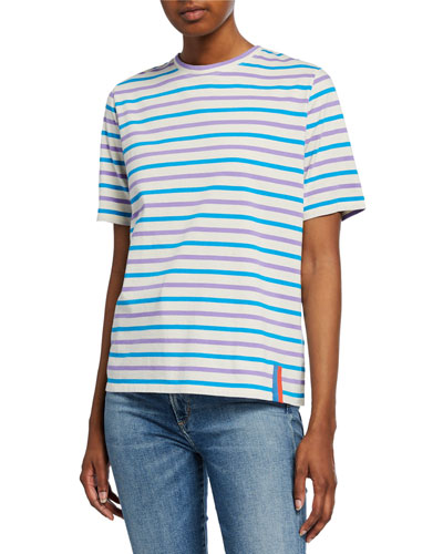 Striped Crewneck Short-Sleeve Cotton Tee